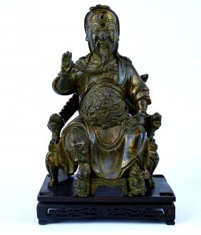 Antique Chinese Bronze Seated Guandi