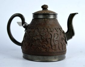 Chinese Qing Dynasty Carved Coconut-pewter Teapot
