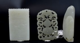 3 Antique Chinese Carved Jade Pendants