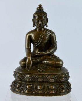 16th Century Tibet Seated Bronze Buddha / Vajra