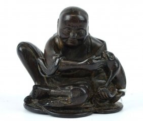 Chinese Carved Zitan Wood Liuhai & Frog