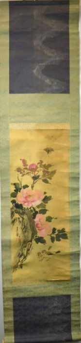 Chinese Painting Birds & Flowers On Silk On Scroll