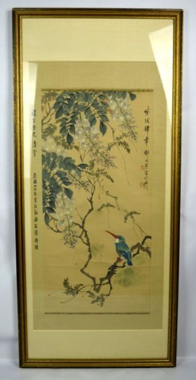 Chinese Kingfisher & Wisteria Scroll Painting