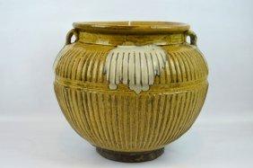 Asian 2 Handled & Ribbed Stoneware Storage Jar