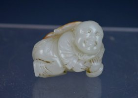18th C Chinese Carved White Jade Boy Under Lotus
