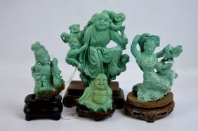 4 - Good Chinese Carved Turquoise Sculptures