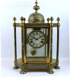 Chinese Large Clock In Cloisonne & Glass Case