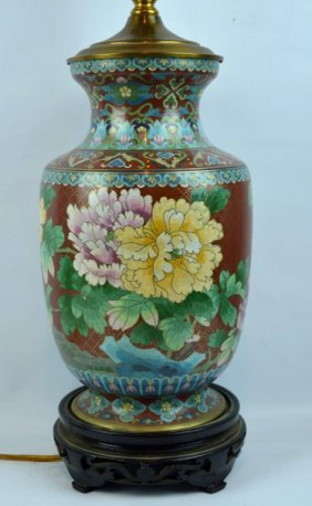 Chinese Cloisonne On Bronze Urn Lamp