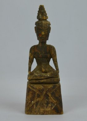 South East Asian Antique Carved Seated Figure