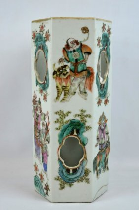 Good 19th C Chinese Hexagonal Porcelain Hat Stand