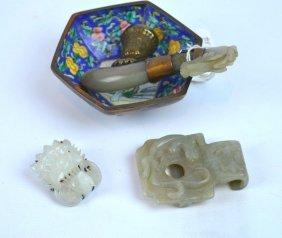 18th C Chinese White Jade Phoenix Pin & 2 Jades