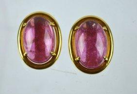 Gump's - Yellow 18k & Pink Tourmaline Earrings