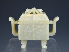Fine Qing Or Ming Chinese Jade Censer & Cover