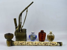 3 Chinese Snuff Bottles & 2 Chinese Pipes