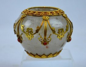Old Chinese Gold, Coral & Rock Crystal Container
