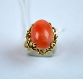 "Chinese Coral Cabochon In ""14k"" Yellow Gold Ring"