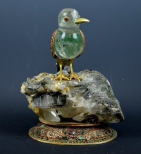 Very Fine Himalayan Bird W Jewels & Gilt Silver