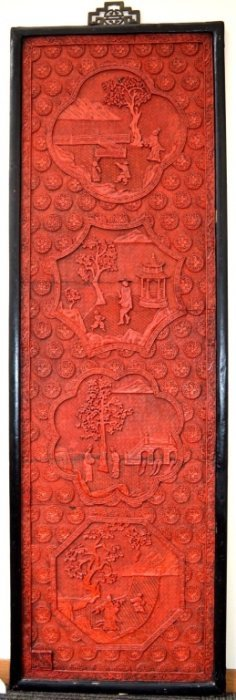 Antique Large Red Cinnabar Lacquer Panel