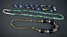 3 - Vintage Blown-glass Trade Bead Necklaces