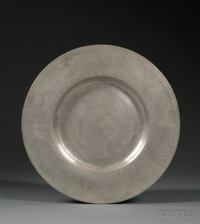 German Pewter Passover Plate, 18th Century, Engrave