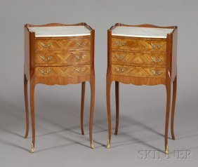 Pair Of Louis XV Style Tulipwood And Marble-top Thr
