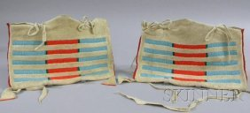 Pair Of Small Native American Hide Possible Bags, Cr