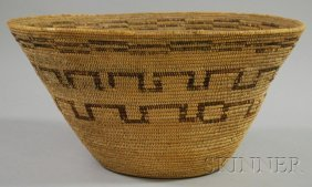 Native American Coiled Basketry Bowl, California, H