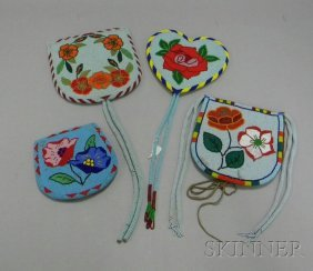 Four Floral Beaded Items. Provenance: Historic Lamm