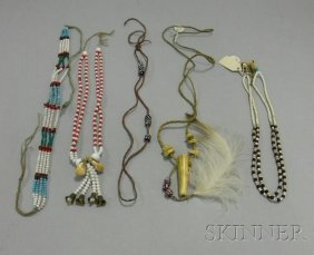 Five Native American Plains Beaded Necklaces. Prove
