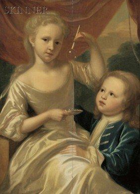 British School, 18th Century Children Blowing Bubb