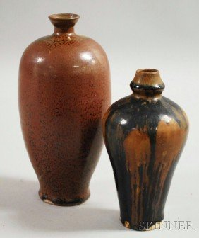Two Asian Brown And Black Vases, One With Speckled