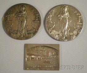 Three European Silver Medallions, A Rectangular Sc