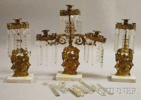 Three-piece Brass And Marble Girandole Set, With C