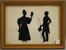 Framed Silhouettes Of A Lady And Gentleman, Possib