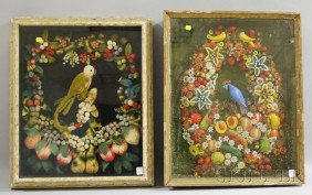 Two Parrot And Wreath Of Fruit Shadow Boxes, A Woo