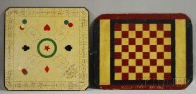 Two Polychrome Painted Game Boards, A Paperboard C
