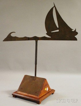 Cut Sheet Iron Sailboat Weather Vane, With Wood St