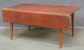 Red-painted Pine Table With Single Drop-leaf And T