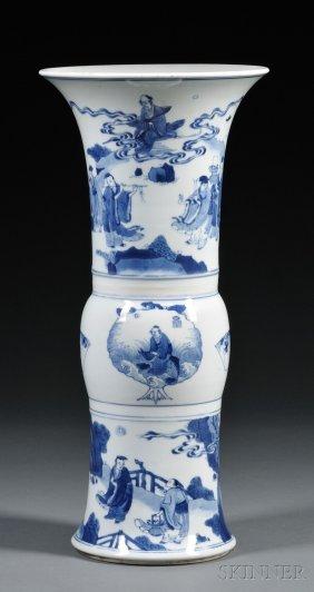 Blue And White Vase, China, 18th Century, Yan Yan Shape