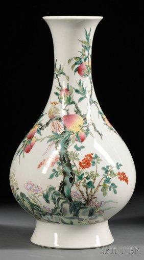 Enameled Porcelain Vase, China, 20th Century, Pear-shap