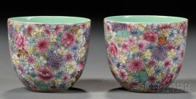 Pair Of Famille Rose Cups, China, Exterior With A Conti