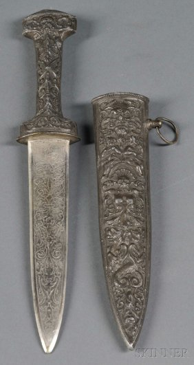 Dirk With Bronze Hilt And Scabbard And Silver Blad