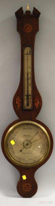 Mahogany Inlaid Wheel Barometer, Swan's Neck Pedim