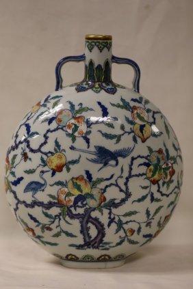 A Wucai Porcelain Moon Flask