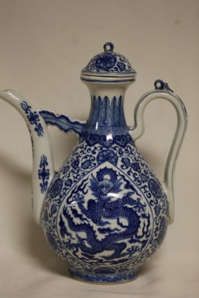 An Exquisite Blue And White Dragon Teapot