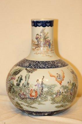 A Magnificent Famille Rose Bottle Vase