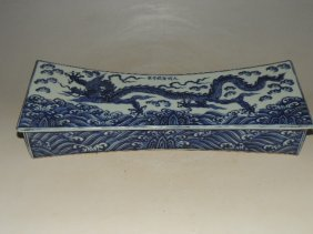 A Blue And White Porcelain Pillow