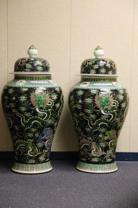 A Pair Of Massive Famille Noire Enameled Porcelain