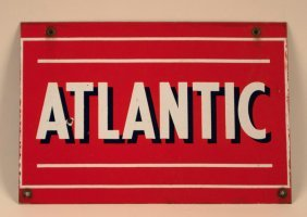 Atlantic Gasoline Porcelain Pump Plate Sign