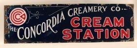 Concordia Creamery Ice Cream Station Porcelain Sign